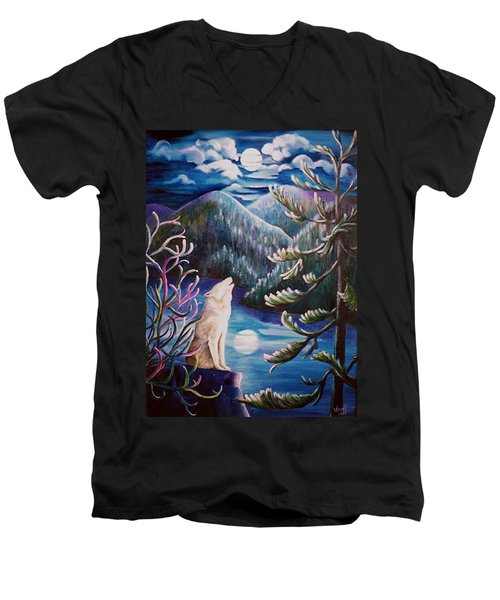 Men's V-Neck T-Shirt featuring the painting Howlin' The Blues by Renate Nadi Wesley