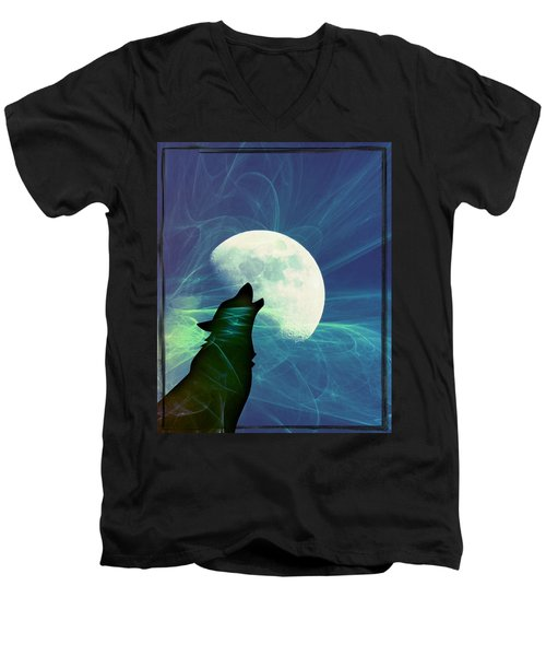 Howling Moon Men's V-Neck T-Shirt by Amanda Eberly-Kudamik