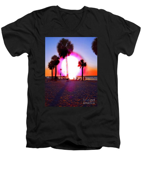 Huge Sun Pine Island Sunset  Men's V-Neck T-Shirt
