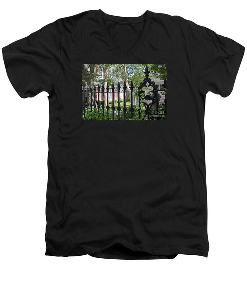 Men's V-Neck T-Shirt featuring the photograph Huguenot Church Cemetery by Gina Savage
