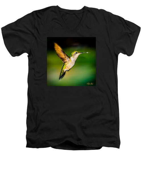 Men's V-Neck T-Shirt featuring the photograph Hummingbird Sparkle by Rikk Flohr