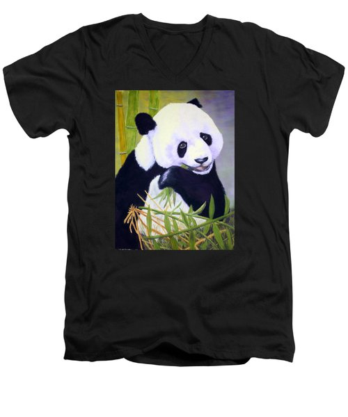 Men's V-Neck T-Shirt featuring the painting Hungry Panda by Nancy Jolley