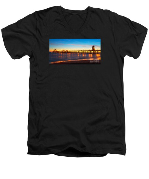 Huntington Beach Pier - Twilight Men's V-Neck T-Shirt