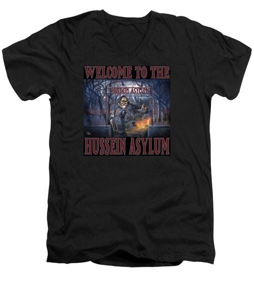Men's V-Neck T-Shirt featuring the photograph Hussein Assylum by Don Olea