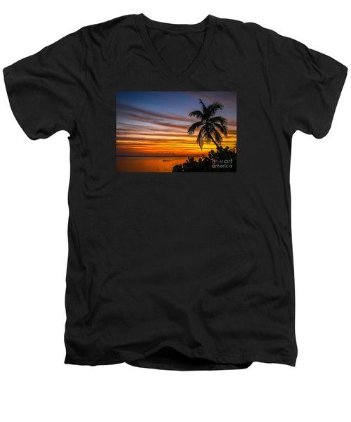 Hutchinson Island Sunrise #1 Men's V-Neck T-Shirt by Tom Claud