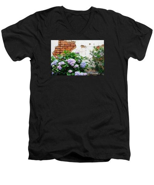 Hydrangea And Bricks Men's V-Neck T-Shirt by Menachem Ganon