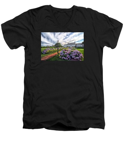 Men's V-Neck T-Shirt featuring the photograph Hydrangea Walk House by Constantine Gregory