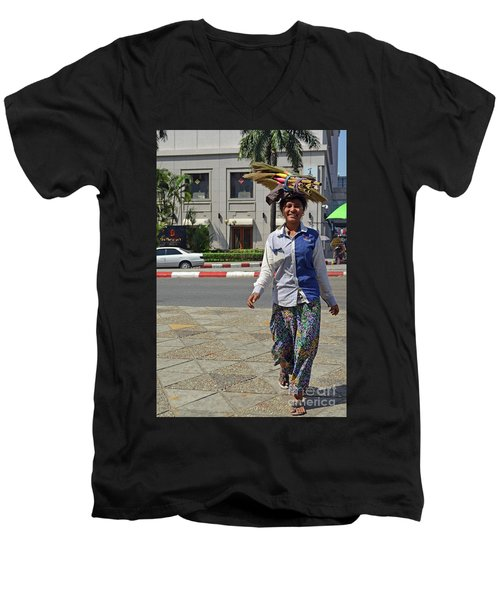 Men's V-Neck T-Shirt featuring the digital art I Can Balance by Eva Kaufman
