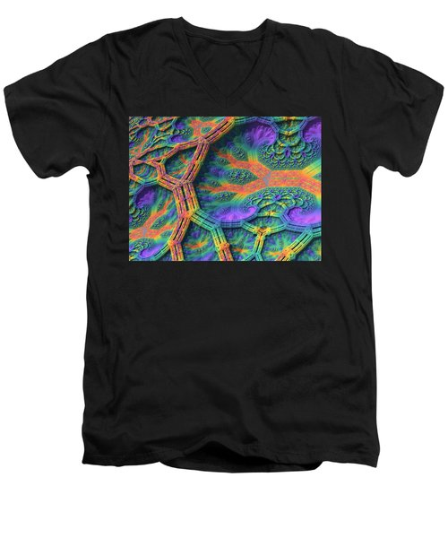 Men's V-Neck T-Shirt featuring the digital art I Don't Do Drugs, Just Fractals by Lyle Hatch