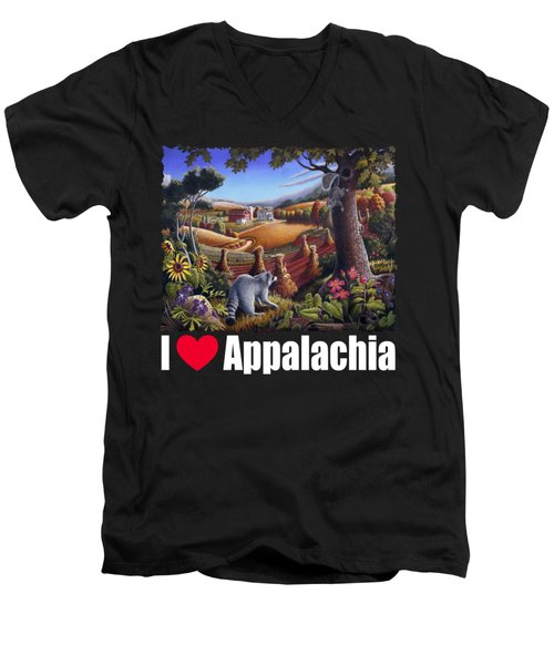 I Love Appalachia T Shirt - Coon Gap Holler 2 - Country Farm Landscape Men's V-Neck T-Shirt by Walt Curlee