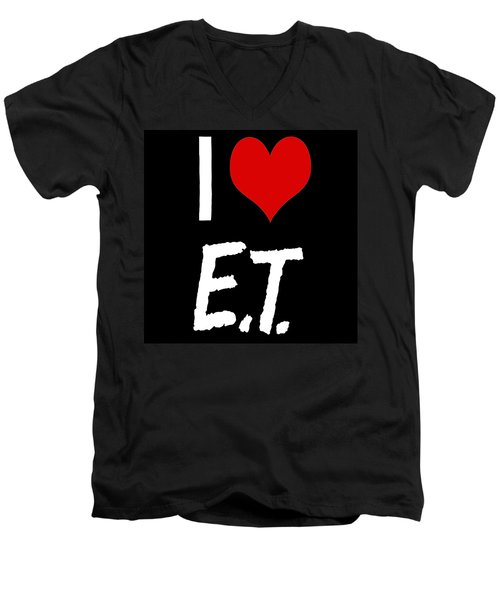 Men's V-Neck T-Shirt featuring the digital art I Love E.t. by Gina Dsgn