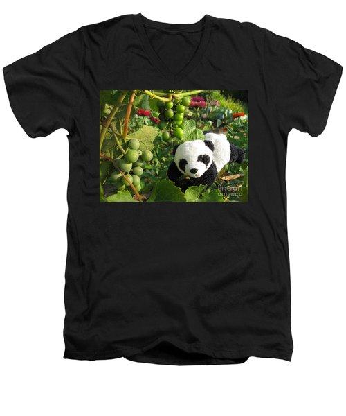 Men's V-Neck T-Shirt featuring the photograph I Love Grapes B by Ausra Huntington nee Paulauskaite