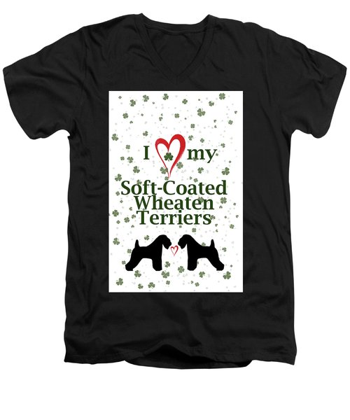 Men's V-Neck T-Shirt featuring the digital art I Love My Soft Coated Wheaten Terriers by Rebecca Cozart