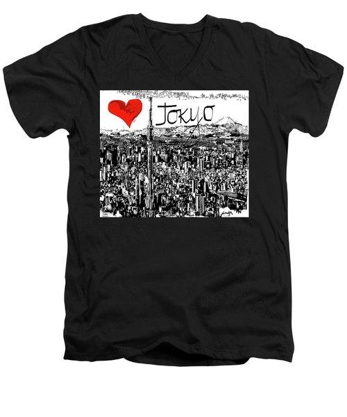 I Love Tokyo Men's V-Neck T-Shirt by Sladjana Lazarevic