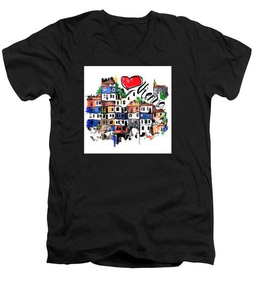 I Love Vienna  Men's V-Neck T-Shirt by Sladjana Lazarevic