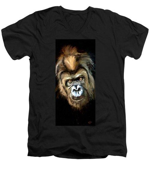 Men's V-Neck T-Shirt featuring the painting Gorilla Portrait by James Shepherd