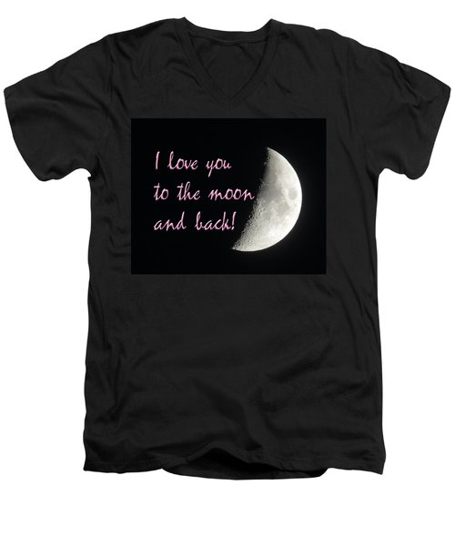 I Love You To The Moon Pink Men's V-Neck T-Shirt