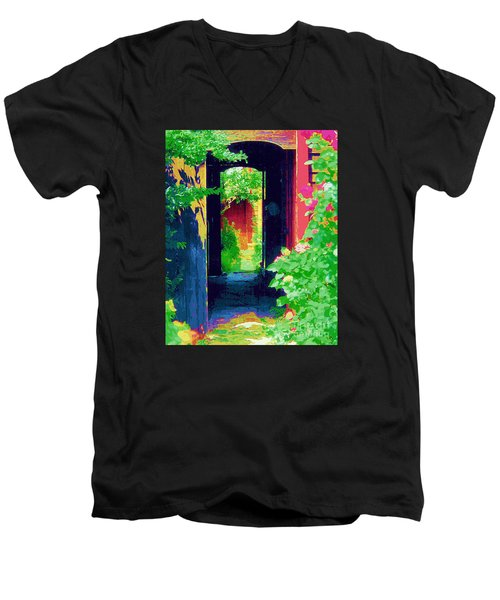I Stand At The Door And Knock Men's V-Neck T-Shirt by Diane E Berry
