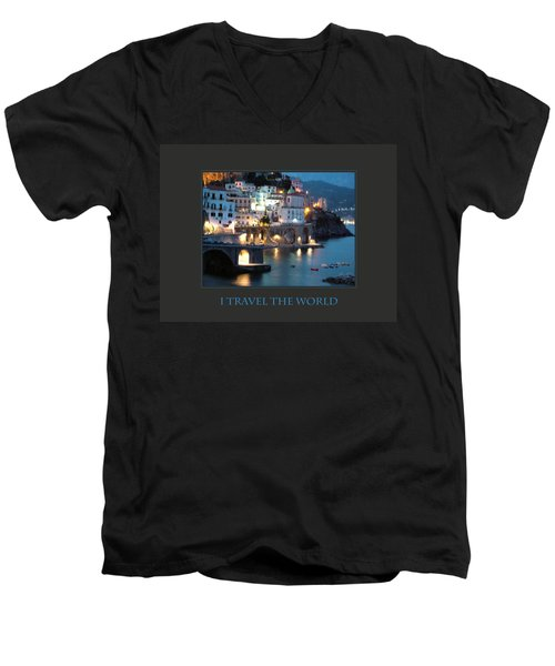 I Travel The World Amalfi Men's V-Neck T-Shirt by Donna Corless