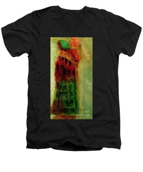 Men's V-Neck T-Shirt featuring the painting I Walk by FeatherStone Studio Julie A Miller