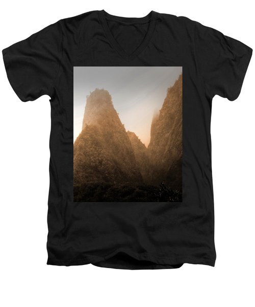 Iao Needle In Sepia Men's V-Neck T-Shirt