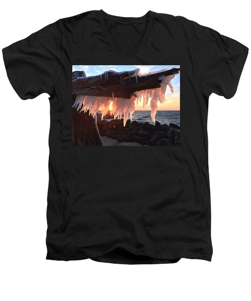 Men's V-Neck T-Shirt featuring the photograph Ice Fangs by Kristopher Schoenleber