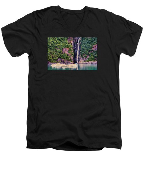 Men's V-Neck T-Shirt featuring the photograph Iceberg And Waterfall by Lewis Mann