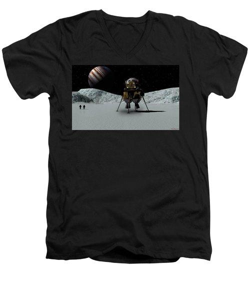 Men's V-Neck T-Shirt featuring the digital art Icefield Landing by David Robinson