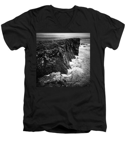 Iceland Coast Black And White Men's V-Neck T-Shirt