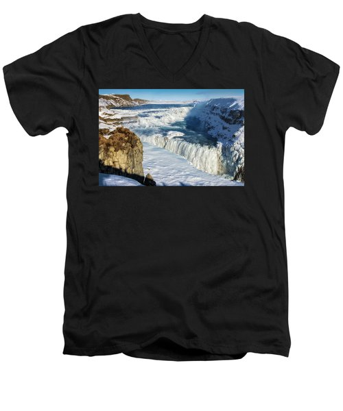 Men's V-Neck T-Shirt featuring the photograph Iceland Gullfoss Waterfall In Winter With Snow by Matthias Hauser