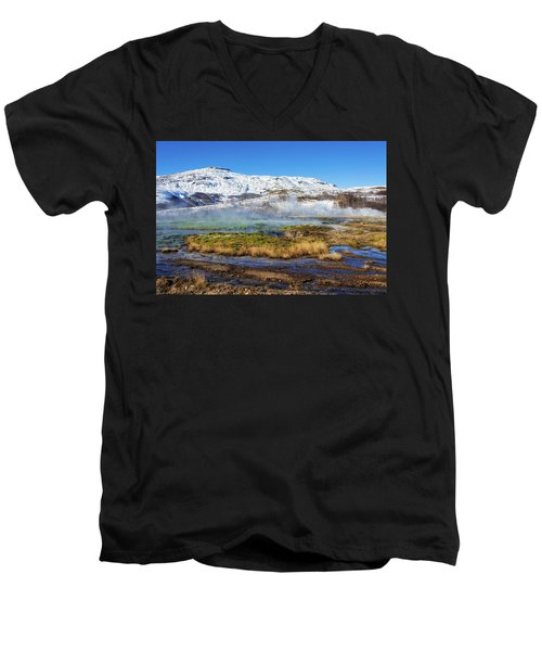 Men's V-Neck T-Shirt featuring the photograph Iceland Landscape Geothermal Area Haukadalur by Matthias Hauser