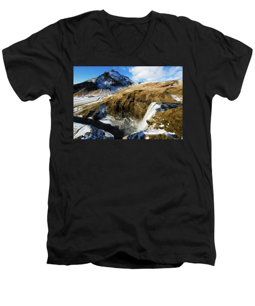 Men's V-Neck T-Shirt featuring the photograph Iceland Landscape With Skogafoss Waterfall by Matthias Hauser