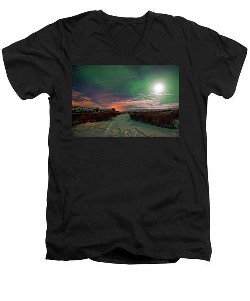 Men's V-Neck T-Shirt featuring the photograph Iceland's Landscape At Night by Dubi Roman