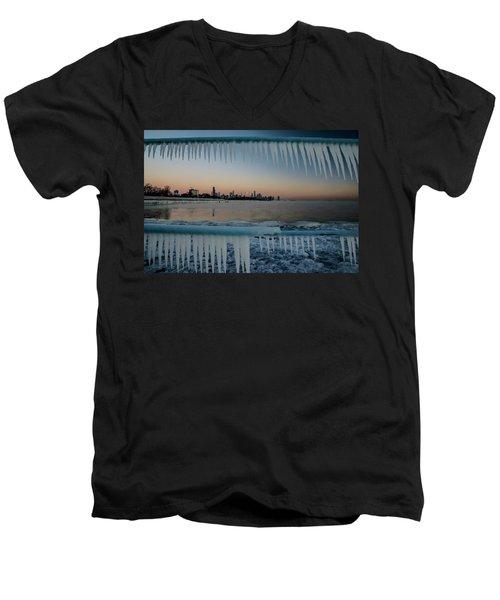 Icicles And Chicago Skyline Men's V-Neck T-Shirt
