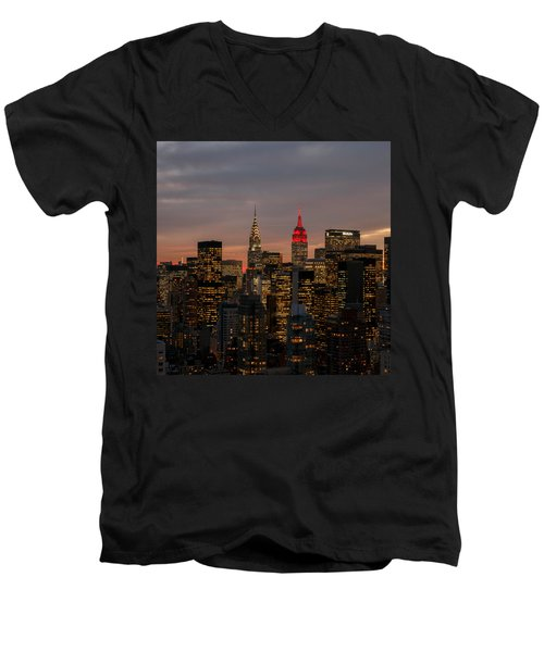 Icons Of Nyc Men's V-Neck T-Shirt by Anthony Fields