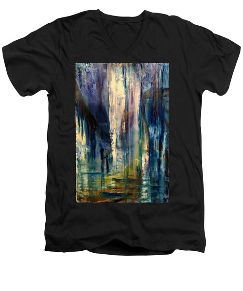 Icy Cavern Abstract Men's V-Neck T-Shirt