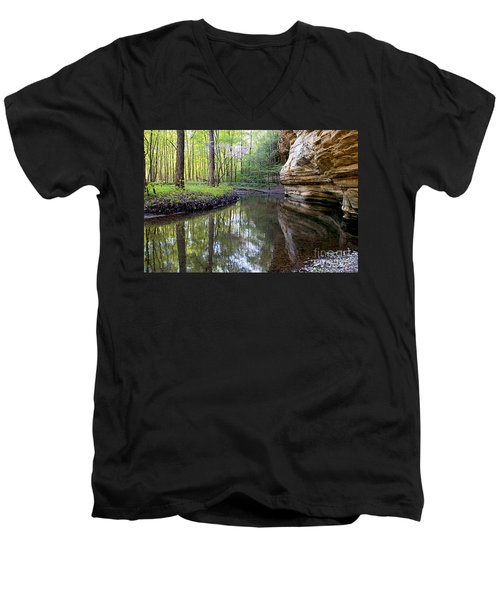 Men's V-Neck T-Shirt featuring the photograph Illinois Canyon In Spring by Paula Guttilla