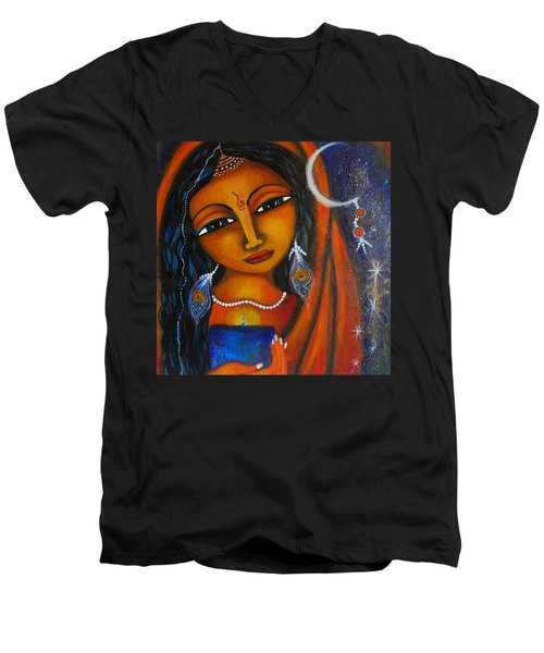 Men's V-Neck T-Shirt featuring the painting Illuminate by Prerna Poojara
