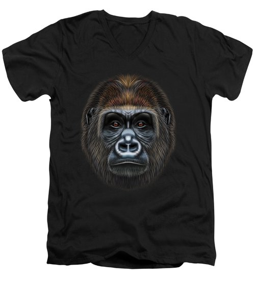 Illustrated Portrait Of Gorilla Male. Men's V-Neck T-Shirt by Altay Savrukov