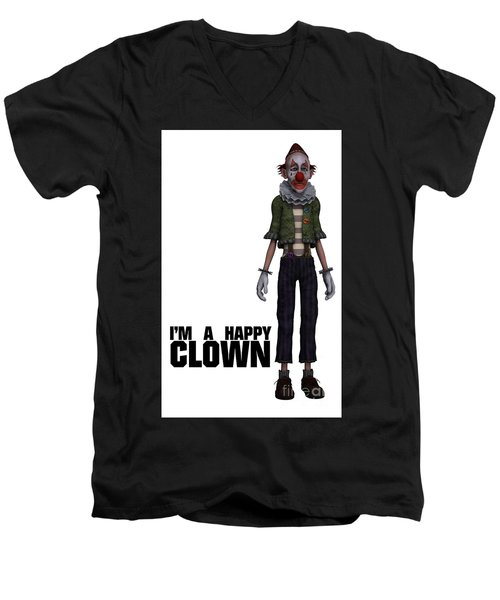 I'm A Happy Clown Men's V-Neck T-Shirt by Esoterica Art Agency