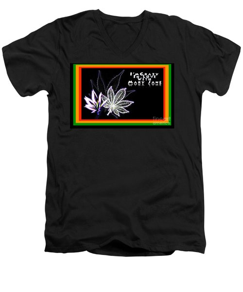 Men's V-Neck T-Shirt featuring the digital art I'm Crazy In Love With Mary Jane by Jacqueline Lloyd