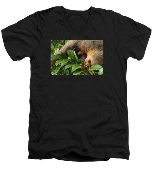 I'm Trying To Eat Here Men's V-Neck T-Shirt by Pamela Blizzard
