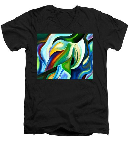 Men's V-Neck T-Shirt featuring the painting Imagination by Karen Showell