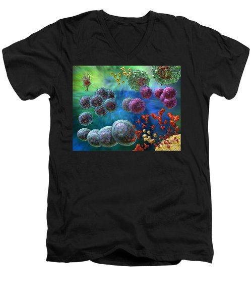 Men's V-Neck T-Shirt featuring the photograph Immune Response Antibody 4 by Russell Kightley