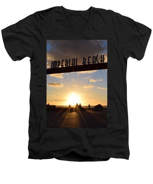 Imperial Beach At Sunset Men's V-Neck T-Shirt by Karen J Shine