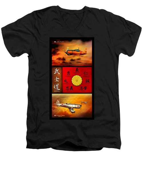 Imperial Japan Aircraft With Bushido Code Men's V-Neck T-Shirt