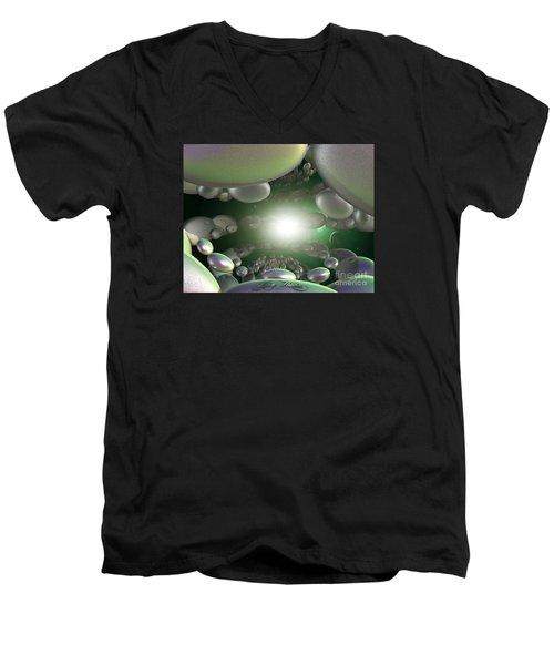 Men's V-Neck T-Shirt featuring the digital art In A Galaxy Far Far Far Away by Melissa Messick