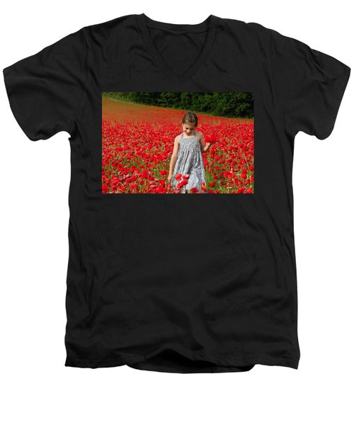 In A Sea Of Poppies Men's V-Neck T-Shirt