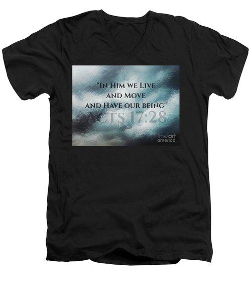 In Him We Live... Men's V-Neck T-Shirt by Sharon Soberon