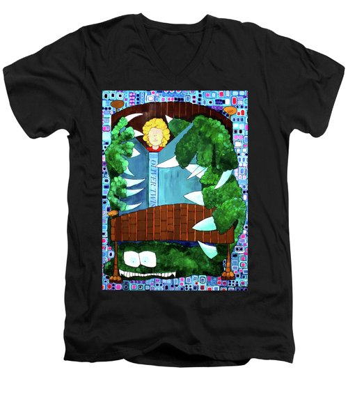 Men's V-Neck T-Shirt featuring the painting In My Room by Donna Howard